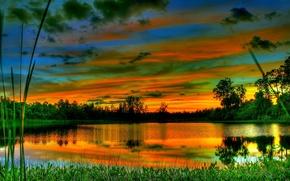 Картинка небо, облака, деревья, озеро, вечер, зарево