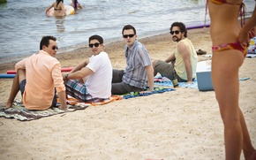 Обои девушка, пляж, Steve Stifler, Джейсон Биггз, Американский пирог, Jason Biggs, Шонн Уильям Скотт, Эдди Кэй ...