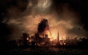Обои Dark, City, Action, Red, Fantasy, Fire, Legendary Pictures, Sun, Water, Line, Wallpaper, Smoke, Godzilla, Cloud, ...