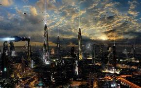 Картинка облака, город, огни, будущее, здания, дороги, планета, корабли, другие миры, sci-fi, planet, ships, towers, Futuristic …