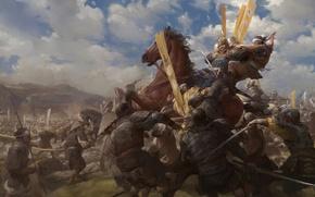 Картинка смерть, война, лошадь, армия, самурай, битва