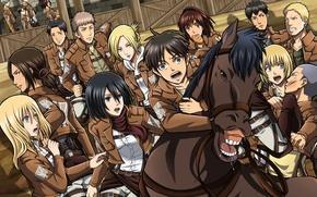 Картинка Shingeki no Kyojin, Eren Jaeger, Mikasa Ackerman, Annie Leonhardt