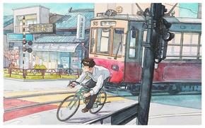 Картинка велосипед, город, Япония, акварель, трамвай