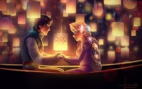 Картинка девушка, цветы, ночь, арт, Рапунцель, парень, двое, фонарики, Rapunzel, Flynn Rider, kelogsloops