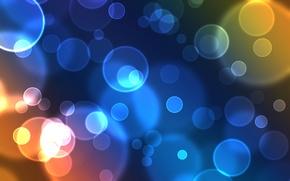 Обои Bubbles, Blue, Окружности, Свечение, Кружки