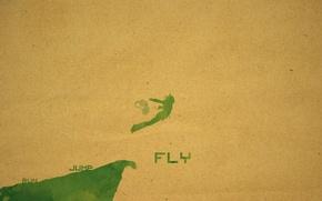 Обои прыжок, краска, человек, оберточная бумага