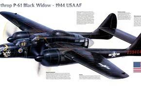 Картинка истребитель, войны, ночной, Northrop, P-61, Black Widow, 1944, периода, Второй мировой, «Блэк Уидоу»