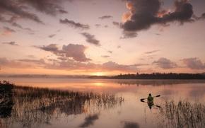 Обои гладь, лодка, природа, nature, sunset, рыбак, заводь, облака, небо, горизонт, река, пейзаж, закат
