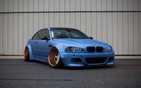 Картинка тюнинг, bmw, бмв, wheels, blue, tuning, power, germany, low, stance, e46, bad boy