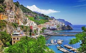 Картинка море, небо, горы, скалы, дома, бухта, яхты, лодки, Италия, залив, Salerno, Позитано, Positano