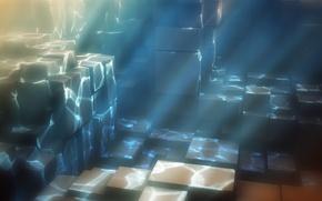 Обои вода, свет, кубы