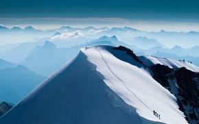 Картинка снег, гора, вершина, восхождение