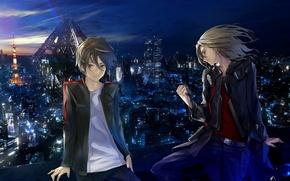 Картинка ночь, город, огни, ветер, парни, guilty crown, tsutsugami gai, ouma shu