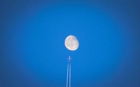 Обои flight, moon, airplane, sky, contrails