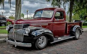 Обои ретро, Chevrolet, классика, пикап, передок