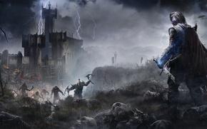 Обои гроза, туман, магия, меч, воин, призрак, броня, крепость, трупы, Рейнджер, Warner Bros. Interactive Entertainment, Орки, ...