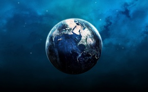 Обои свет, синий, земля, планета