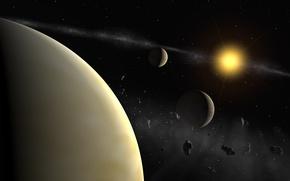 Картинка звезда, планета, спутники
