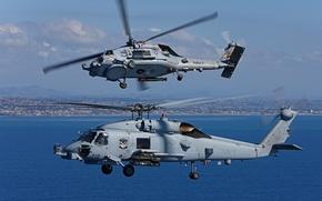 Картинка полет, пара, вертолёт, многоцелевой, Seahawk, «Си Хок», Sikorsky MH-60R