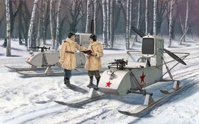 Картинка советские, пропеллером., которые, двигателем, винтом, самоходные, аэросани, толкающим, воздушным, снaбжены, РФ-8 ГАЗ-98
