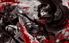 Обои капрал леви, Shingeki no Kyojin, кровь, вторжение титанов, атака титанов