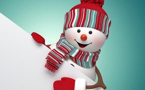 Картинка Новый Год, Рождество, снеговик, Christmas, New Year, cute, snowman, Merry