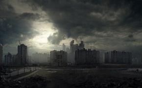 Обои город, апокалипсис, вечер, россия