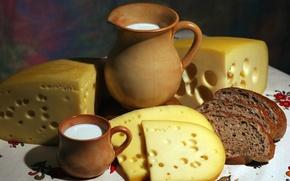 Обои сыр, кружка, хлеб, ломти, молоко, кувшин, аппетитно
