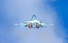 Картинка небо, полет, истребитель, Т-50, многоцелевой
