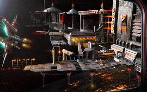 Картинка космос, звезды, корабль, планета, станция, арт, Anthony Christou