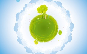 Картинка земля, голубой, деревья, трава, зелёный, облака