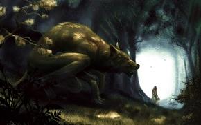Картинка Red Riding Hood, девушка, Красная Шапочка, арт, корзинка, волк, лес