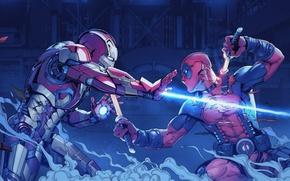 Картинка fight, tony stark, wade wilson, Iron man vs deadpool
