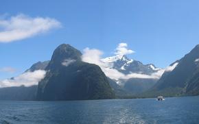 Обои Новая Зеландия, горы, природа, фото, панорама, Милфорд-Саунд