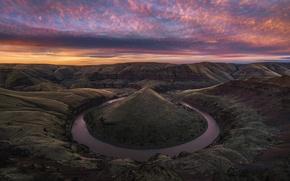 Картинка река, скалы, холмы, вечер, утро, каньон, США