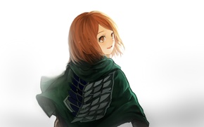 Картинка взгляд, девушка, улыбка, плащ, art, Shingeki no Kyojin, petra ral, medllia
