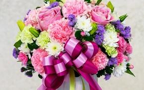 Картинка розы, букет, colorful, бант, 8 марта, красивые, beautiful, Roses, шикарные, Хризантемы, Гвоздики, Астры, Bouquets