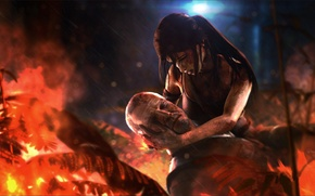 Картинка лес, огонь, Tomb Raider, Lara Croft