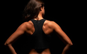 Обои back muscles, women, fitness