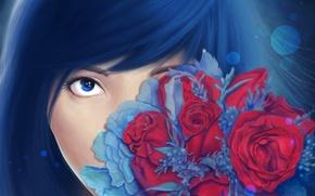Картинка взгляд, цветы, лицо, розы, букет, арт, живопись, девушка. синие волосы