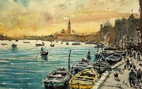 Обои дома, картина, лодки, акварель, Венеция, городской пейзаж, Максимилиан Дамико