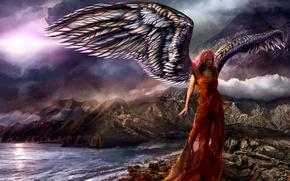 Картинка море, небо, вода, девушка, горы, тучи, фантастика, океан, скалы, крылья, ангел, красное платье, Vitaly S. …