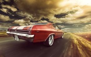 Обои chevrolet, chevelle, ss, 1969, orange, rear, speed