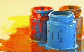 Картинка оранжевый, голубой, краски, цвет, разводы, баночки, ярко, творчество, красочно, обои от lolita777