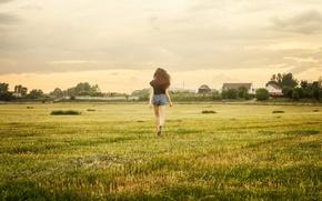 Картинка поле, вечер, бег