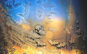 Картинка стекло, холод, зима, иней, мороз, dobraatebe, узор, синий, желтый