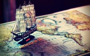Картинка настроение, модель, лодка, корабль, карта, путешествие, судно, слово, mood, travel