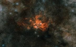 Обои NGC 6357, Скорпион, эмиссионная туманность, Pismis 24, созвездие