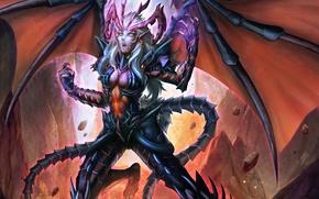 Картинка девушка, магия, крылья, искры, когти, лава, Демон, разлом