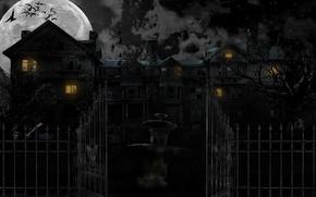 Обои ночь, дом, страх, луна, ужас, house, night, horor